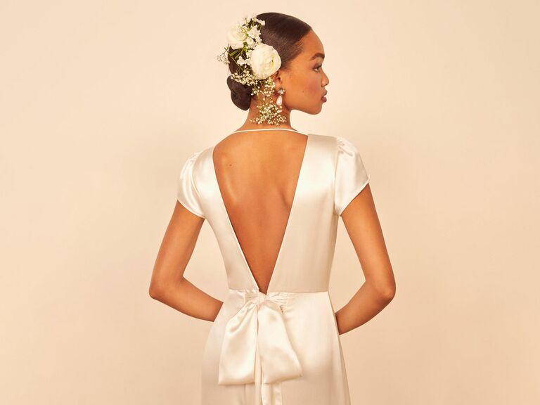 Reformation satin wedding dress with deep v back