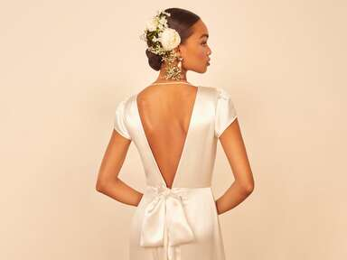 Reformation satin wedding dress with deep v back