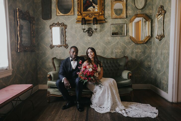 """Abraham is from Niamey, Niger in West Africa and for his wedding to Nicole the couple wanted to celebrate the """"vibrancy of that culture"""" throughout th"""