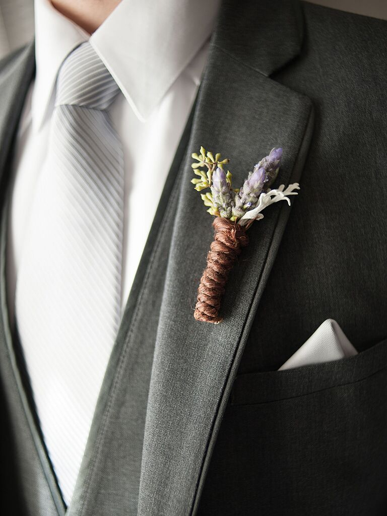 Lavender and seeded eucalyptus boutonniere wrapped in twine