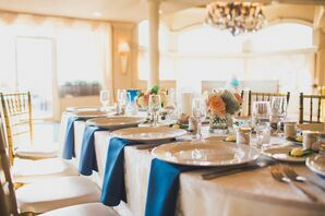 Understated Ivory and Navy Place Settings