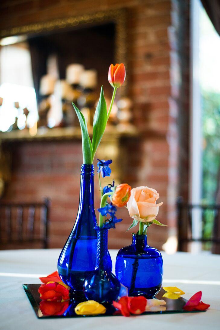 Blue Vase With Orange Flower Centerpieces