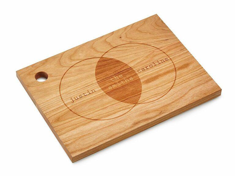 custom cutting board holiday gift for newlyweds