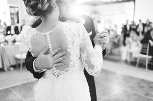 Lace Sleeve Illusion-Back Wedding Dress