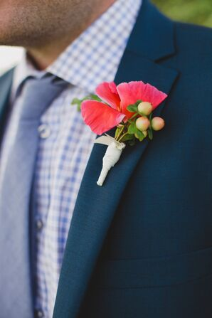 Bright Coral Boutonniere with Peach Hypericum Berries