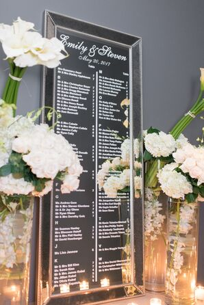 Seating Chart on Mirror with Orchids and Hydrangeas