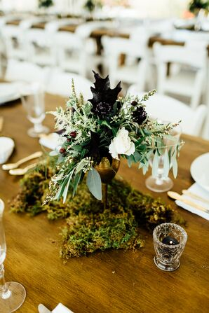 Rustic Centerpiece with Moss, Greenery and Fall Leaves