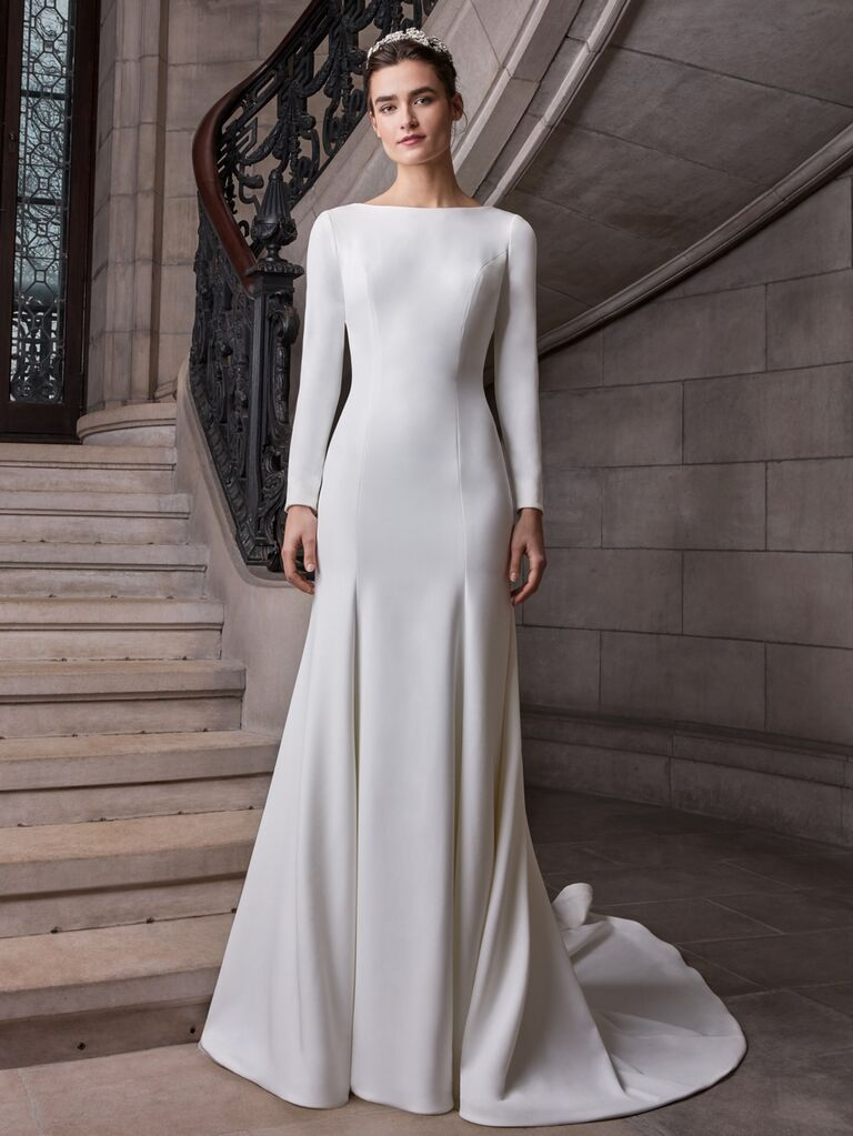 Sareh Nouri Spring 2020 Bridal Collection sheath wedding dress with long sleeves