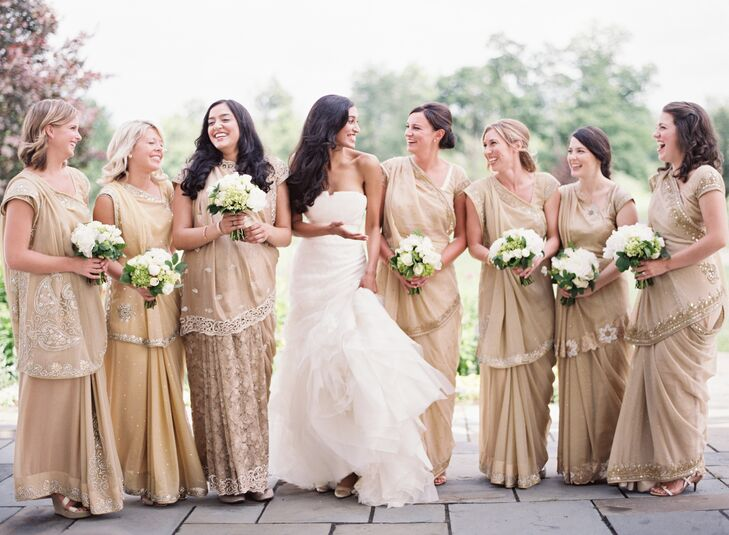 innovative design 2019 discount sale modern techniques Cream-Colored Bridesmaid Sarees with Beaded Details