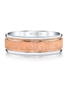 MARS Fine Jewelry MARS Jewelry G100 Men's Band Rose Gold, White Gold Wedding Ring