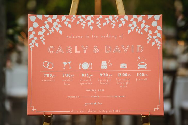 A schedule of events in a warm coral color used playful graphics and Art Deco-inspired typeface to give guests an overview of the evening.