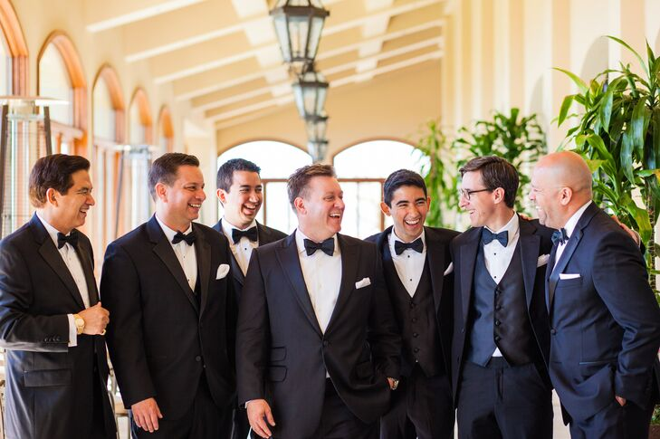 Groomsmen in Classic Black Tuxedos with Bow Ties