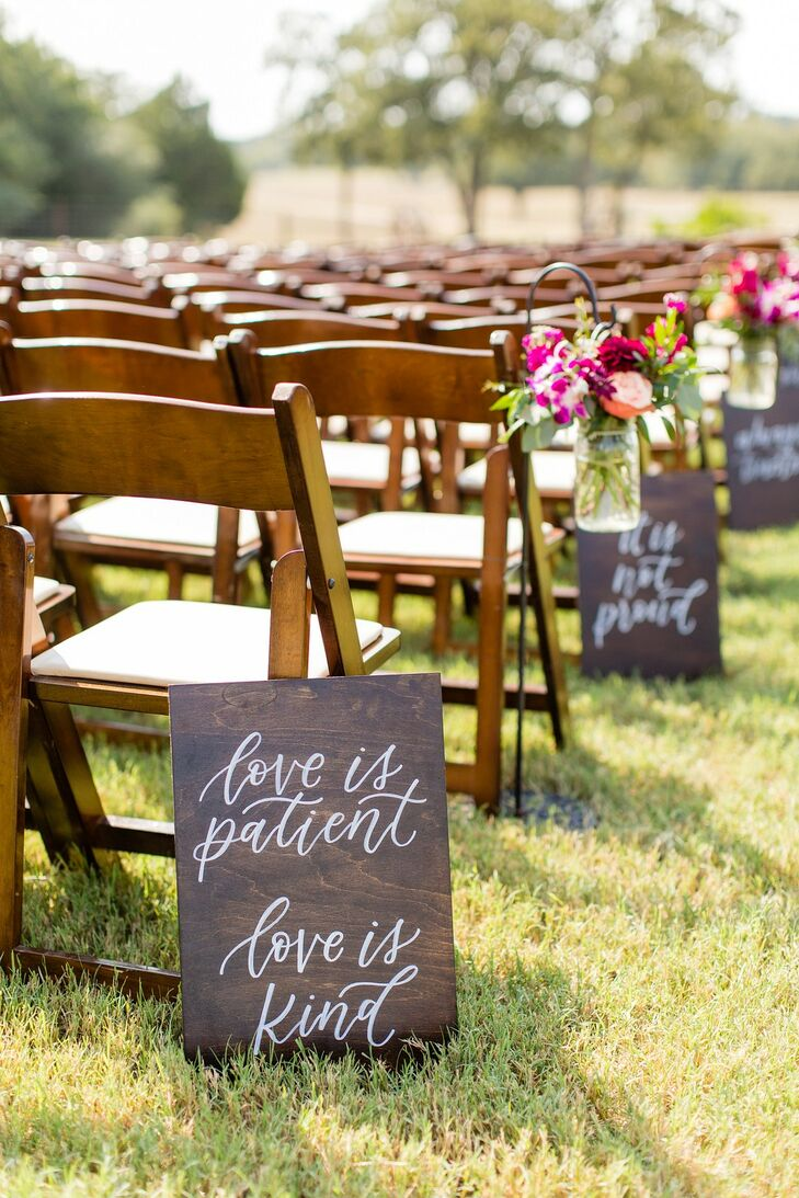 Rustic Wood Signs with Calligraphy as Aisle Decorations