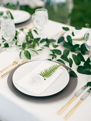 Minimal Place Setting with Black Charger, Fern and Gold Flatware