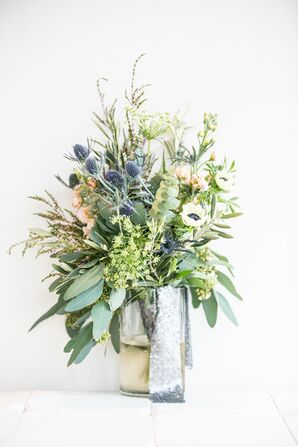 Modern Bouquet of Eucalyptus, Anemone, Thistles and Queen Anne's Lace