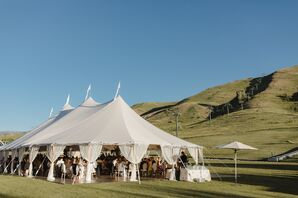 White Reception Tent in Mountains