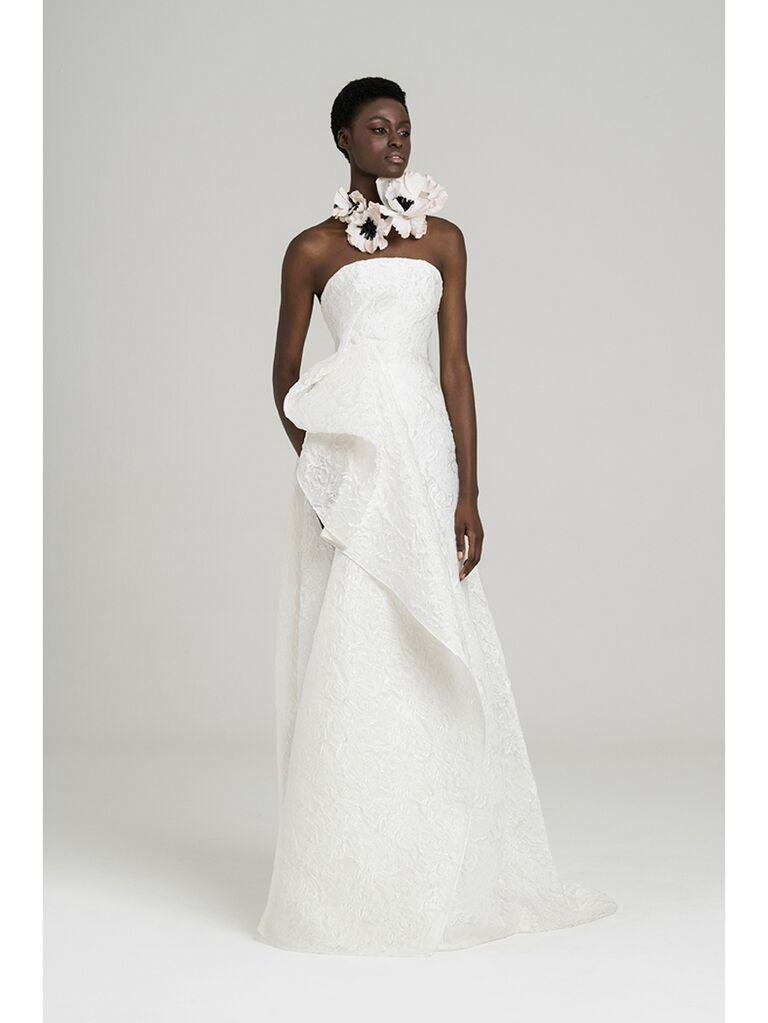 Column Wedding Dress with Ruffle Detail