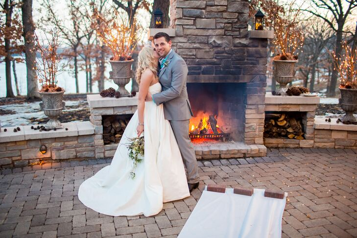 Bride And Groom At Winter Fireplace Ceremony Alter