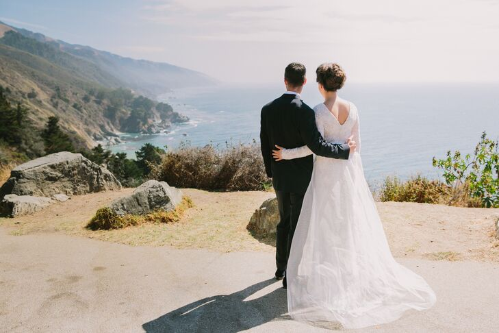 New York-based Rory and Kevin had their clifftop outdoor wedding at a private property in Big Sur, California. The two relied heavily on an on-site planner, who helped land local vendors and educate the couple about the area.