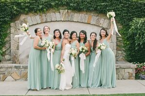 J.Crew Elegant Dusty Shale Chiffon Bridesmaid Dresses
