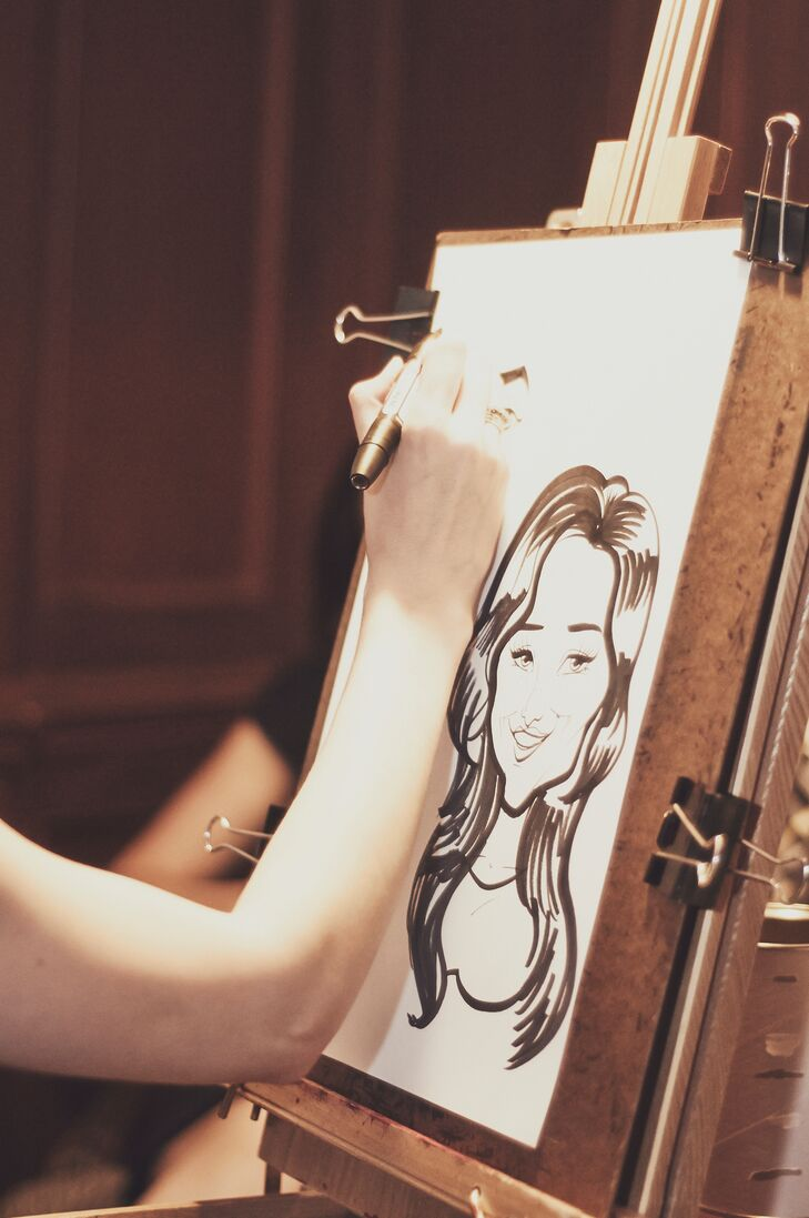 A caricature artist provided fun sketches for guests at the reception.