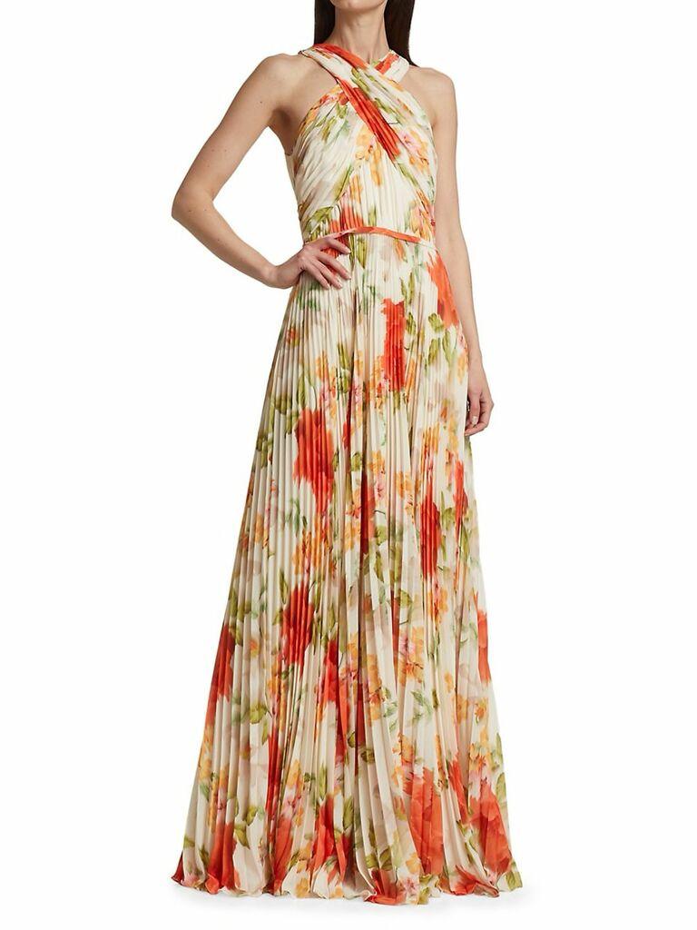 Floral print pleated chiffon maxi dress