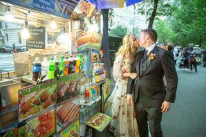 Bride and Groom with New York City Food Truck