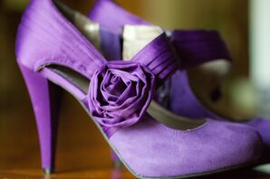 Purple Wedding Heels with Floral Embellishment