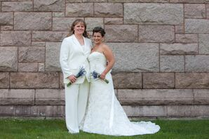Melanie and Jennifer in Wedding Ivory Attire with Lavender Bouquets