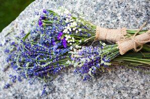 Symbolic Lavender Bouquets with Burlap Wrap
