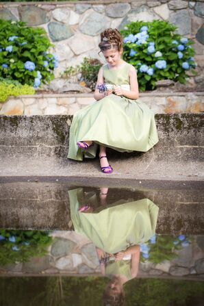 Celadon Dress with Ivory Sash and Purple Shoes