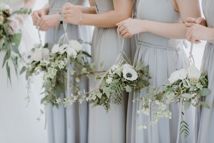Hanging Bridesmaid Bouquets with Greenery and Anemones