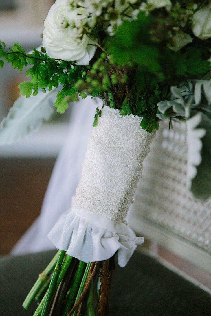 Laine's bouquet wrap was made out of lace from her mother's wedding dress.