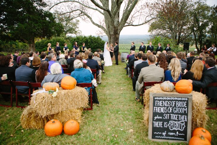 Pumpkins and Hay at Vineyard Ceremony