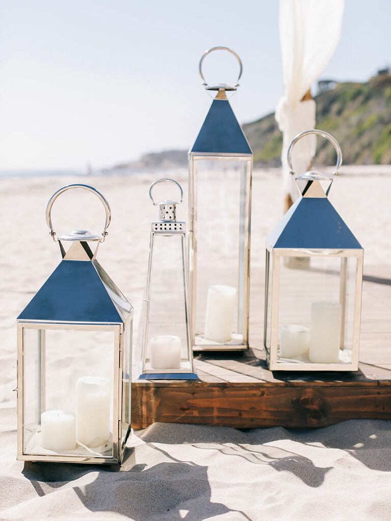 Outdoor lanterns for beach wedding