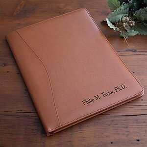 Engraved brown leather portfolio