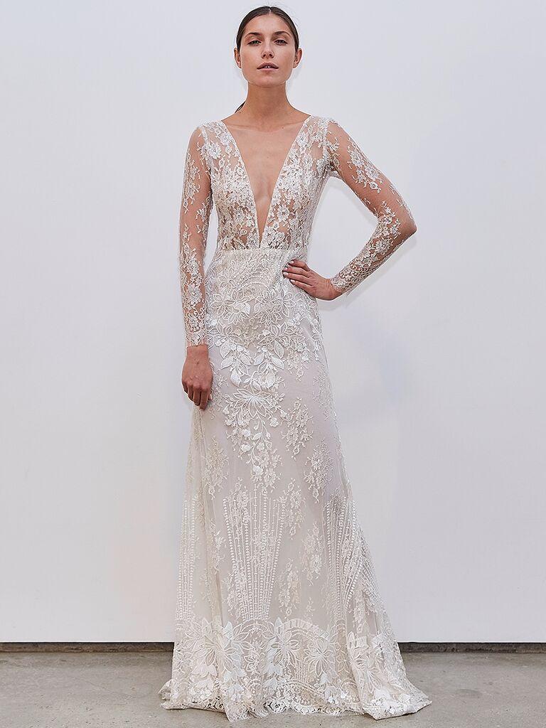 Francesca Miranda long sleeve A-line beaded dress