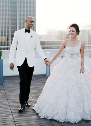 Formal Couple Wearing Ball Gown and White Tuxedo Jacket