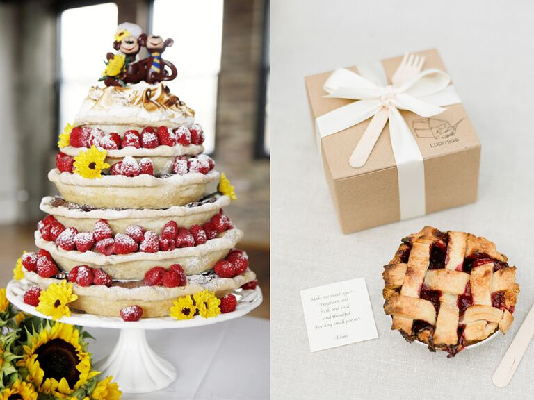 Stacked pie wedding cake and a mini pie favor