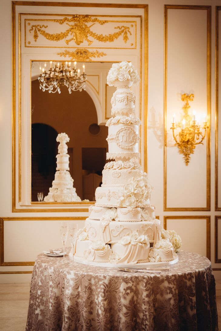Nine-Tier Monogrammed Fondant Cake