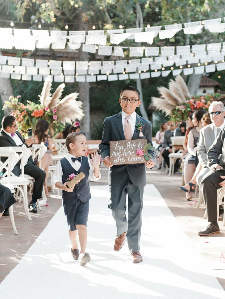 Ring Bearers with Custom Wood Sign