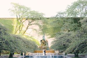 Bride and Groom at Garden Fountain in Chicago