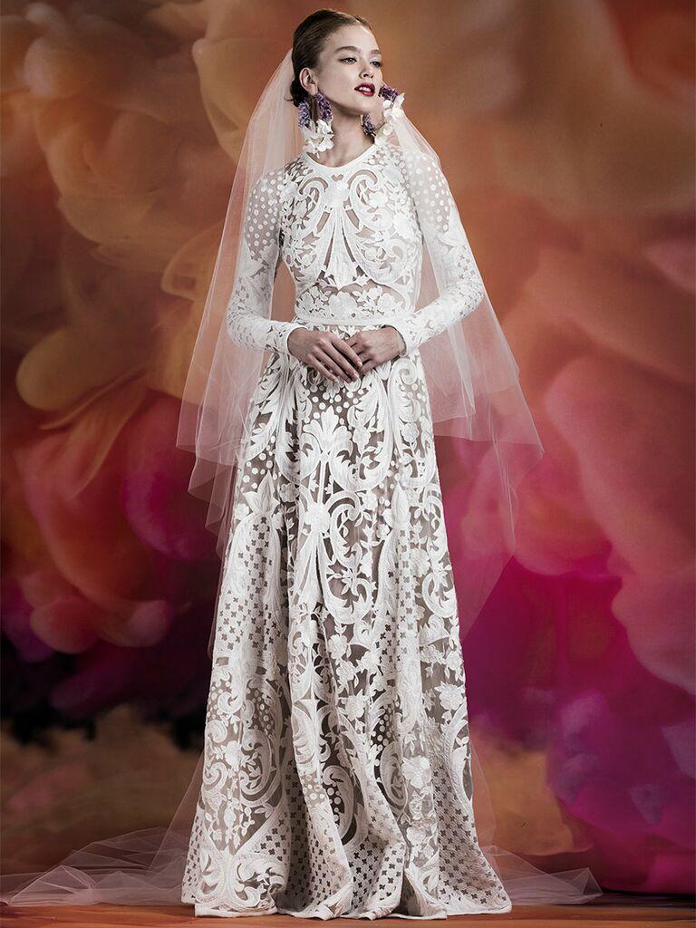 Naeem Khan wedding dress long-sleeve lace a-line gown