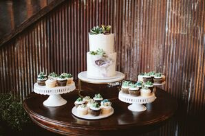Wedding Cake and Cupcakes with Succulent Decorations