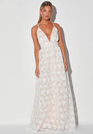 Lulus Ivywood White and Beige Embroidered Lace Backless Maxi Dress A-Line Wedding Dress