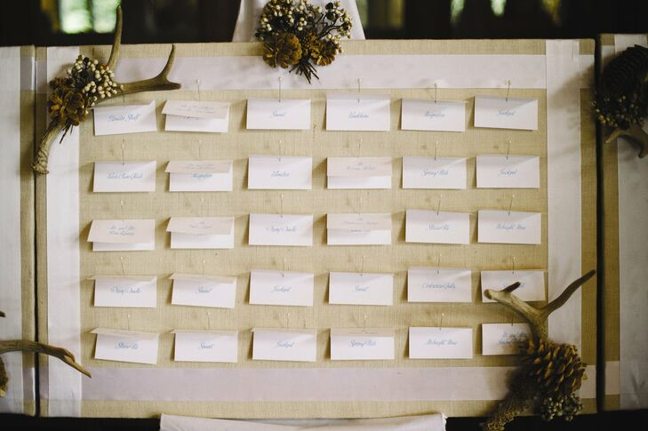 The white escort cards were pinned to a fabric-covered board decorated with antlers, pinecones and berries.