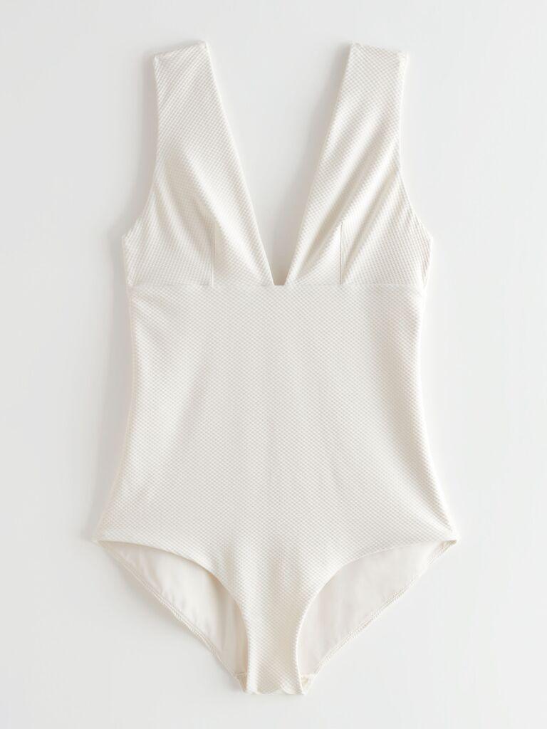 Textured white deep-V swimsuit