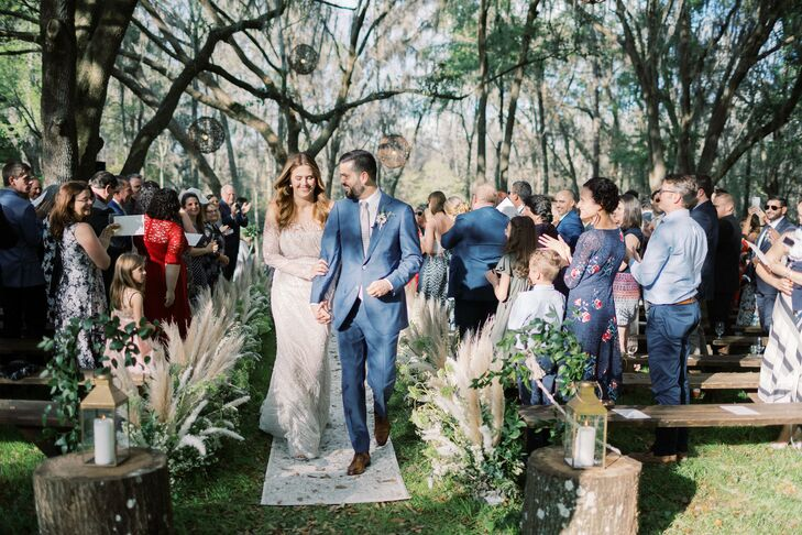 Bohemian Recessional with Trees, Benches and Pampas Grass Aisle Decorations