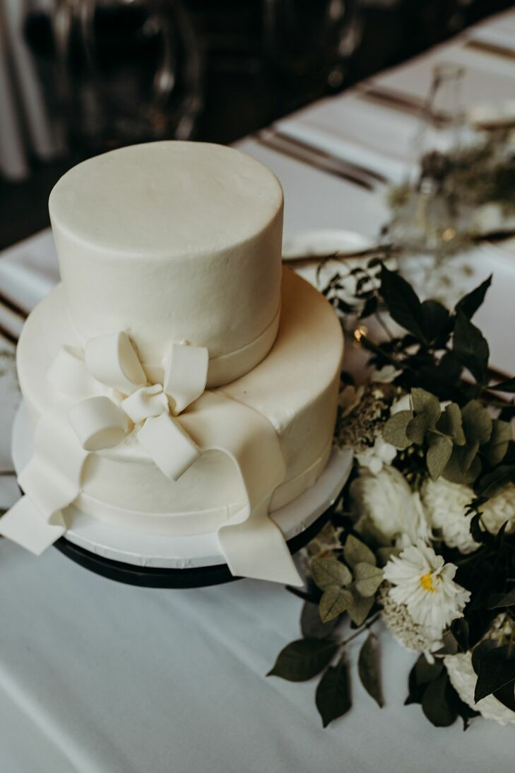 Two-Tier White Wedding Cake with Bow