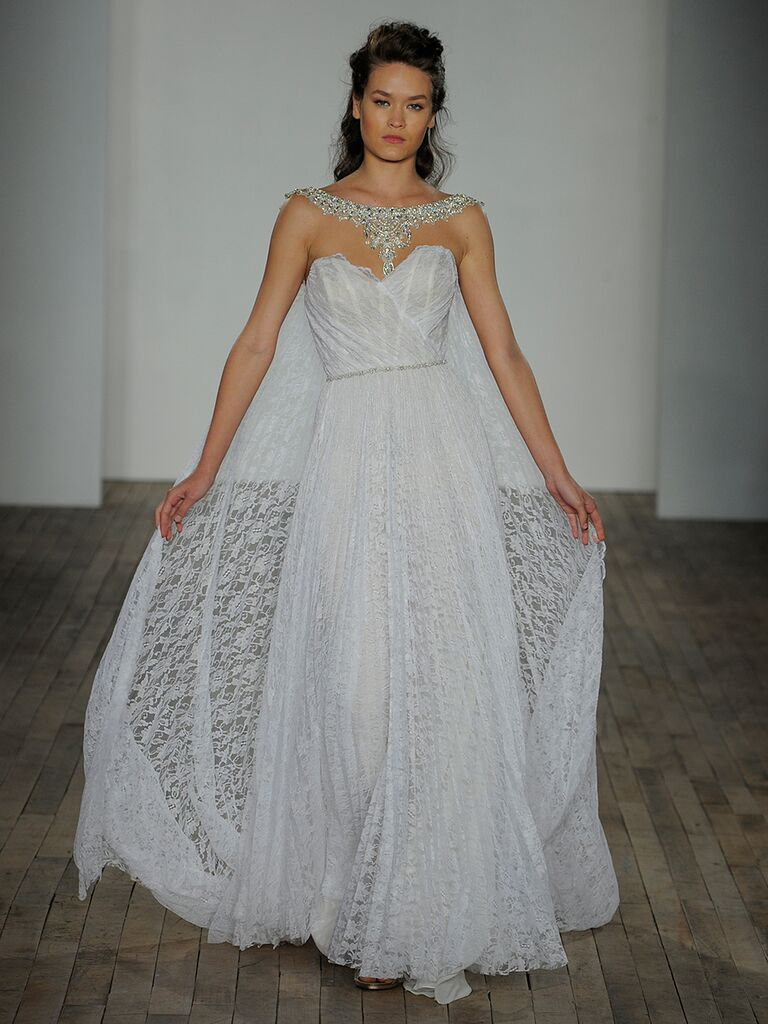 Lazaro Fall 2018 Wedding Dresses Jeweled Cape